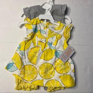 NWT Baby 6 Months Clothing Set Dress Onesie Lemons